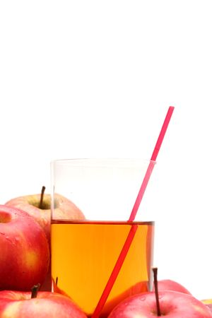 Red apples and apple juice on a white background Stock Photo - 965558