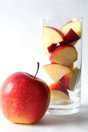 Red apples and apple juice on a white background Stock Photo - 965573