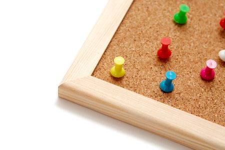 corkwood: Alfileres de colores sobre una corkboard