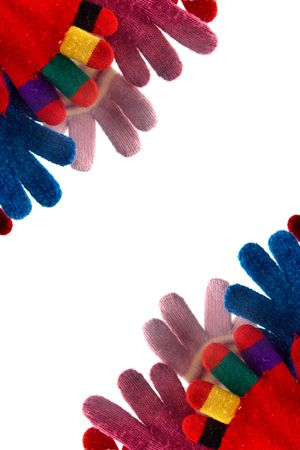 Colorful woolen gloves on a white background Stock Photo - 2046125
