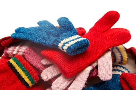 Colorful woolen gloves on a white background Stock Photo - 2046126