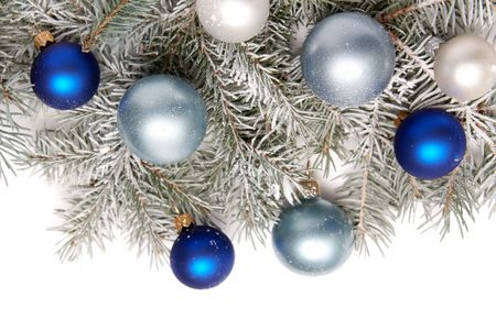 White and blue bulbs covered with snow and spruce thigs