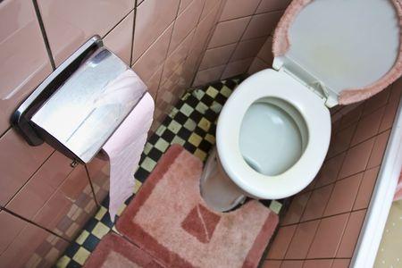 defecate: Dirty rosa antico bagno con piastrelle in ceramica