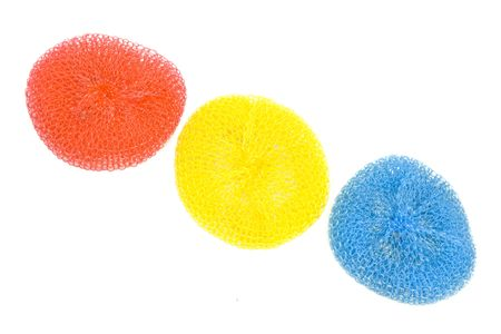 scrubbers: Different cleaning tools on a white background