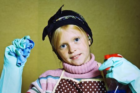 Little girl cleaning an old dirty house Stock Photo - 6510078