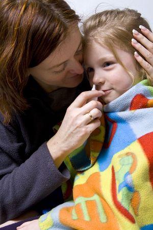 litle: Sick litle girl on her mother knees