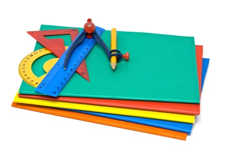 square ruler: Colourful exercise books and other school supplies