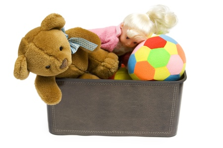 toy box: Toys in brown box on a white Stock Photo