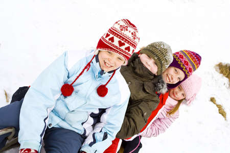 winter jacket: Children playing on the snow
