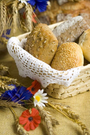 bread rolls: Bread and rolls with corn and field flowers