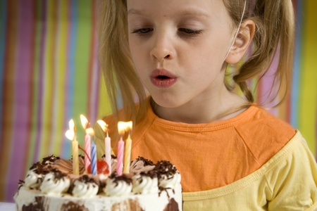 baloon: Happy children with birthday cake on a striped background