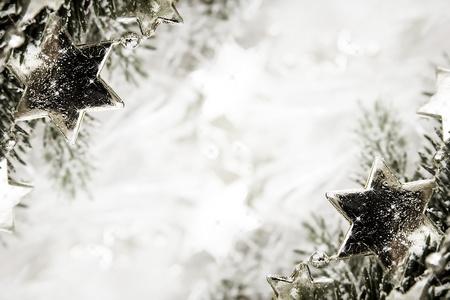 glistening: Silver sparkling stars on a white glistening background