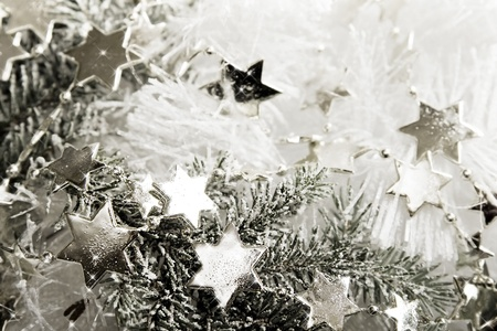agleam: Silver sparkling stars on a white glistening background