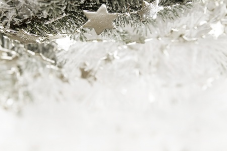 Silver sparkling stars on a white glistening background Stock Photo - 16451411
