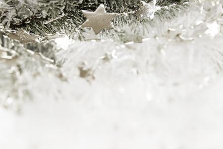 Silver sparkling stars on a white glistening background Stock Photo - 16451411
