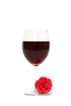 rd: Rd bicchiere di vino su sfondo bianco  Archivio Fotografico