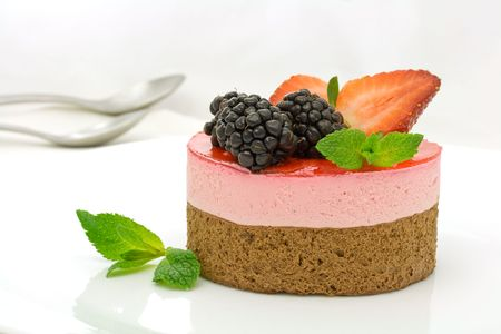 Chocolate and strawberry cake decorated with mulberries and mint leaves Stock Photo - 2946485
