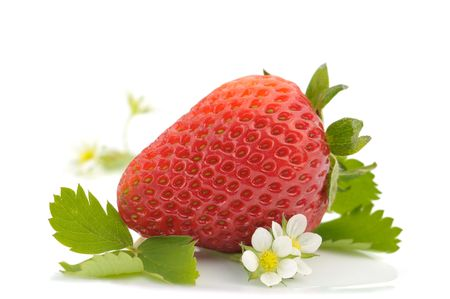 Macro of strawberry fruit and flowers on white background
