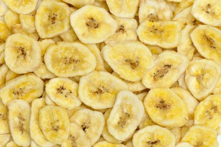 top view of dried banana slices in natural light