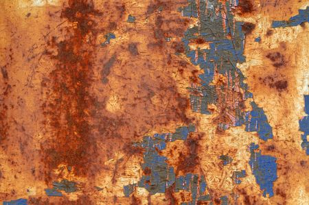rusty background: Peeling paint on a rusty metallic background Stock Photo