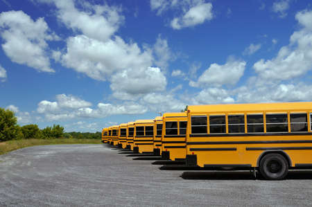 School buses in a row on a parking lot Stock Photo