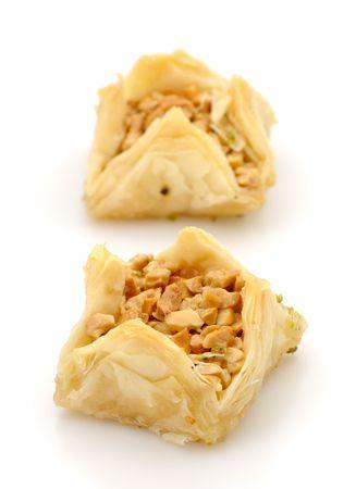 baklawa: Fresh filo pastries on white background