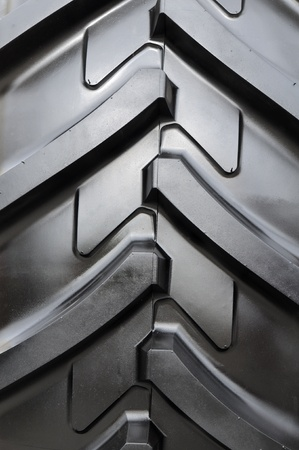 Detail of a rubber tire on a tractor - heavy equipment photo