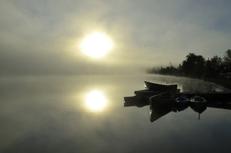 sunrise in spring on a polluted lake photo