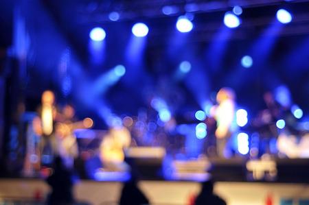 stage lighting: Outdoor rock concert light background illumination Stock Photo