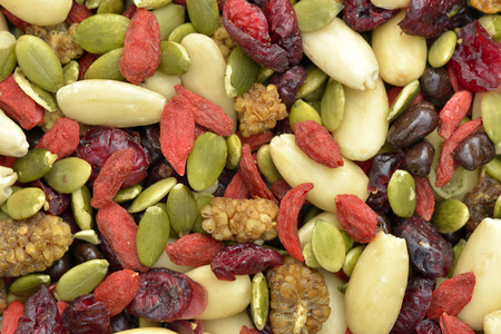 Trail mix with pumpkin seeds, dried cranberries, almonds, goji berries