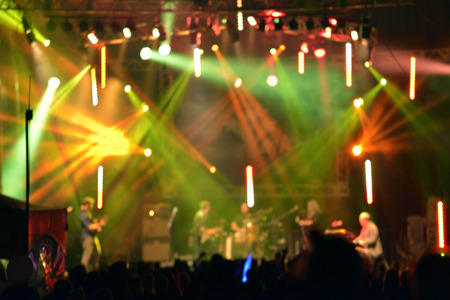 Outdoor rock concert light background illumination in summer