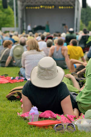 Outdoor free jazz concert on grass in summer