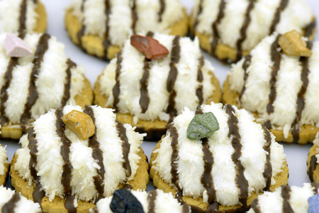 Several coconut cookies with chocolate stripes decorated with chocolate pebble