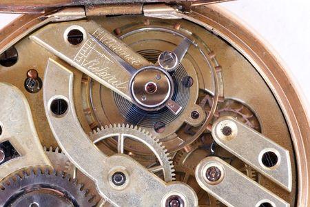 casing: precise mechanism of old antique watch in golden casing
