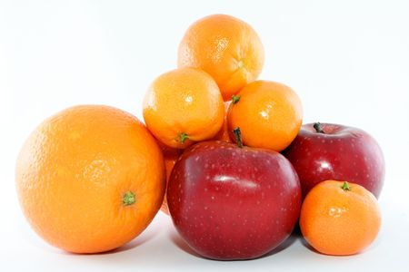 recent: Recent oranges, mandarines and apple as objects isolated on white background Stock Photo