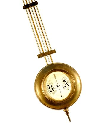 brass pendulum of old clock isolated on white background Stock Photo - 682992