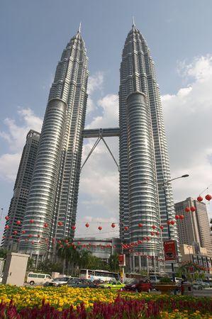 Petronas Towers, Kuala Lumpur, Malaysia with Chinese New Year lanterns Editorial