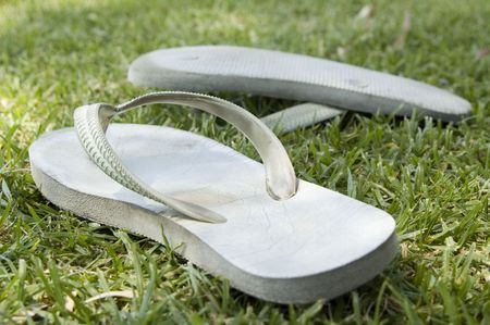 thongs: Thongs or flip flops on grass on a summer day in Australia. Color photo landscape, daylight, daytime. Stock Photo