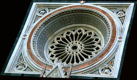 devanture: Rosace de la fa�ade de la cath�drale de Florence Banque d'images