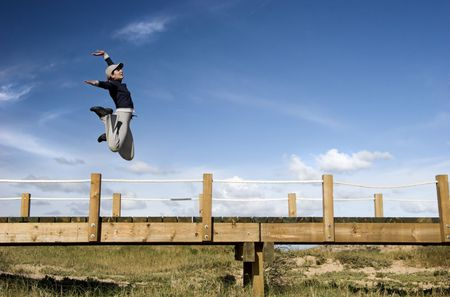 Young woman jumping for fun in a beautiful day Stock Photo - 791253