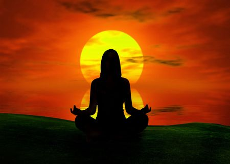 created: Woman silhouette making yoga at the sunset  (background digitally created)