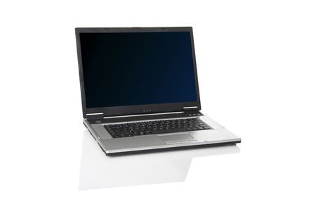msn: Picture of a laptop on a white background with reflection    Stock Photo
