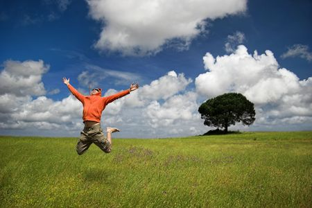 Man jumping on a green meadow with a beautiful cloudy sky Stock Photo - 1320507