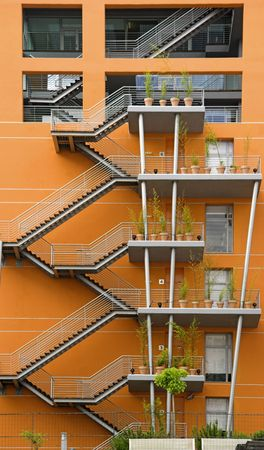 European modern building with stairs and a nice orange color Stock Photo - 1320506