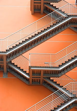 Abstract view of a European modern building with stairs  photo