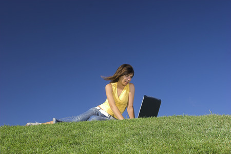 Woman in outdoor study with a laptop Stock Photo - 1483966