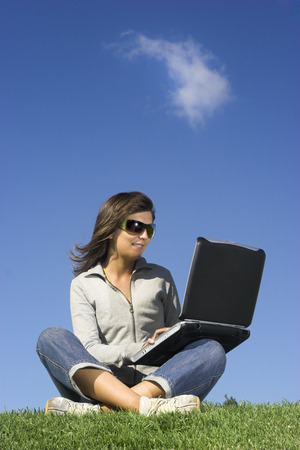 Woman in outdoor study with a laptop Stock Photo - 1483975