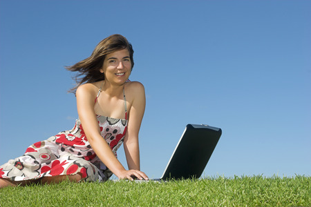 Woman in outdoor study with a laptop Stock Photo - 1483962