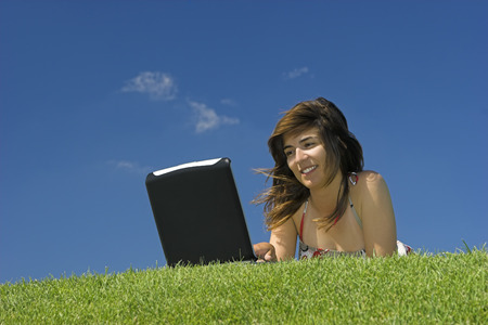 Woman in outdoor study with a laptop Stock Photo - 1483951