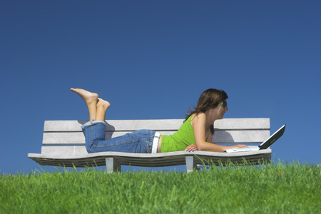 Woman in outdoor study with a laptop Stock Photo - 1483948